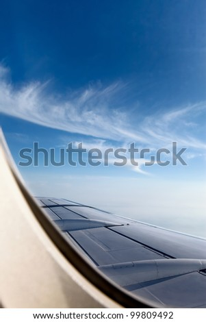 landscape view from airplane, beautiful sky - stock photo