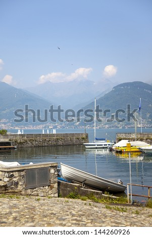 Landscape view from lake Como, Colico beach and quay