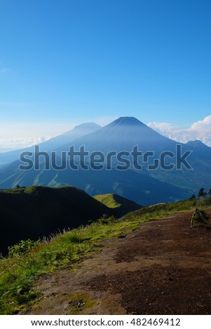 Landscape view from Mount Prau, Indonesia.