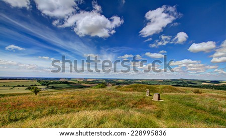 Landscape view from Old Winchester Hill - stock photo