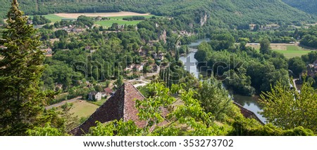 Landscape view from the village medieval of Saint-Cirq-Lapopie, in France