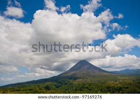 Landscape view of Arenal Volcano and surrounding lands, Costa Rica - stock photo