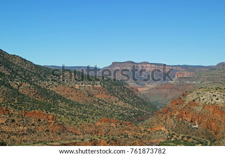 Landscape view of Canyon area in Arizona desert mountain