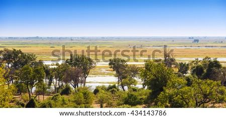 Landscape view of Chobe National Park near Kasane, Botswana, Africa - stock photo