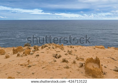 Landscape view of coastal cliff at Petrified Forest Walk, Cape Bridgewater in Victoria, Australia - stock photo