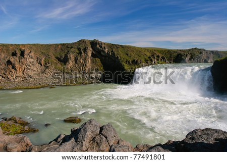 Landscape view of famous waterfall Godafoss in Iceland - stock photo