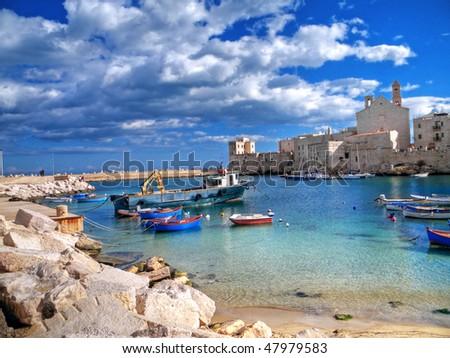 Landscape view of Giovinazzo touristic port. Apulia. - stock photo