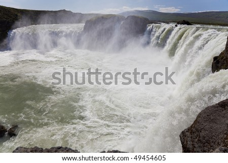 Landscape view of glacial melt water going over Godafoss Waterfall in Iceland