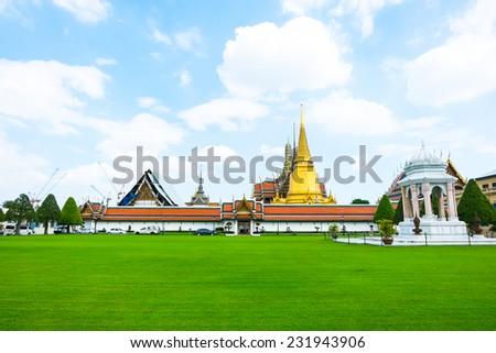 Landscape view of Grand palace, Temple of the Emerald Buddha (Wat pra kaew) in Bangkok ,Thailand. - stock photo