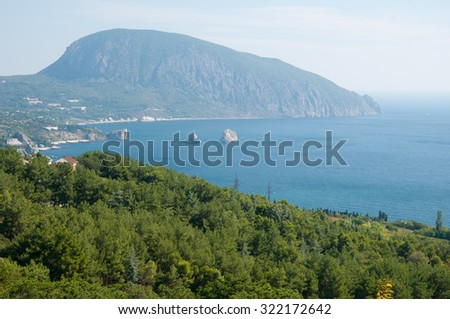 Landscape view of Gurzuf village and Ayu-Dag mountain, Crimea - stock photo