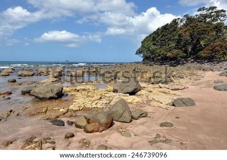 Landscape view of Hot Water beach in Mercury Bay on the east coast of the Coromandel Peninsula, New Zealand - stock photo