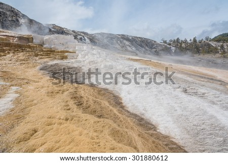 Landscape view of Mammoth Spring in Yellowstone National Park, Wyoming - stock photo