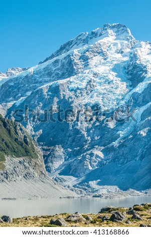 Landscape view of Mt Cook and glacier lake , New Zealand - stock photo