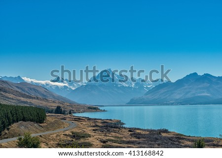 Landscape view of Mt Cook and Lake Pukaki , New Zealand - stock photo