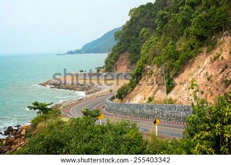 Landscape view of sea and curve road in Chantaburi, Thailand
