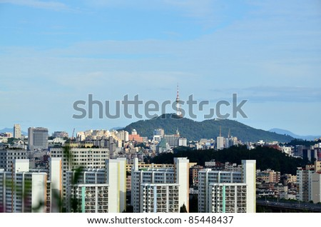 Landscape view of seoul tower - stock photo