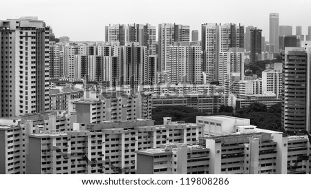 Landscape view of Singapore Housing Estate built by Housing Development of Singapore - Black and White - stock photo