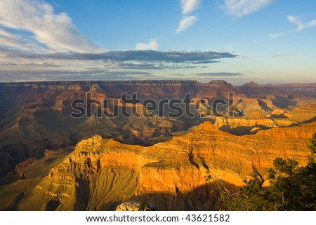Landscape view of the Grand Canyon at dusk - stock photo