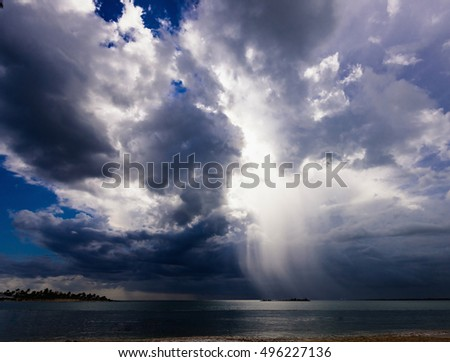 landscape view of the sea storm cloud