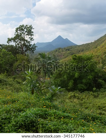 Landscape view on Khao Ra mountain - the highest mountain on Koh Phangan island,Thailand