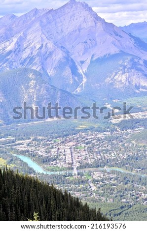 Landscape view on the highest Sulfur mountain, Rocky Mountains and Bow river valley in Banff National park. Alberta.Canada