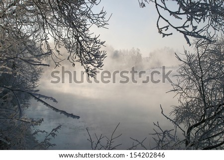 landscape winter morning on the river Zai