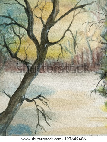 Landscape winter watercolor painting at sunset with lonely tree,  handmade on a white paper art (I am the only author of this artwork).