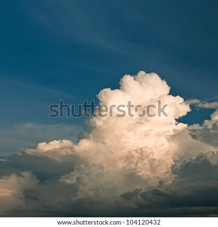 Landscape with a blue sky and cloud.