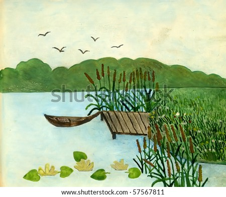 Landscape with a boat and departing birds, gouache on a paper - stock photo