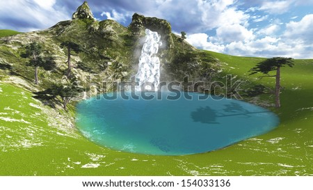 Landscape with a lake and a waterfall