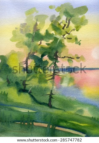 Landscape with a lake. Sunset. Watercolor.