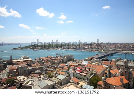 Landscape with a lot of homes, the river, bridge and the ships against blue sky - stock photo