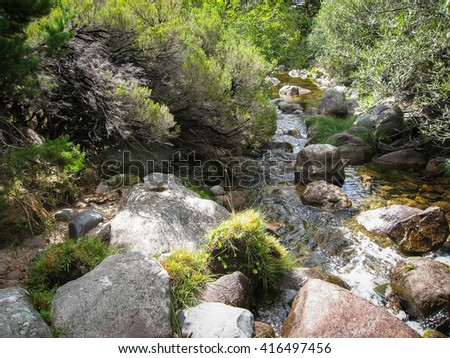 Landscape with a river Pedrisa, Comunity of Madrid, Spain - stock photo