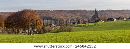Landscape with al village in the Limburg region in Holland - stock photo