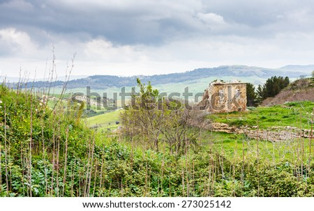 landscape with ancient greek ruins in Morgantina archaeological area, Sicily, Italy - stock photo