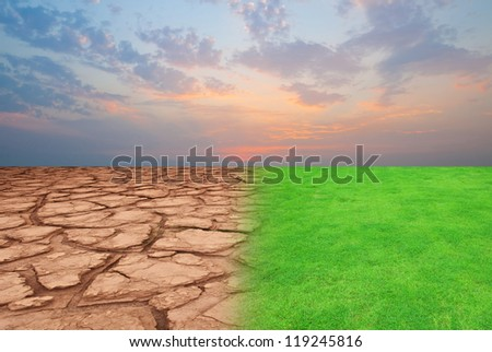 landscape with beautiful sunset and dry field - stock photo