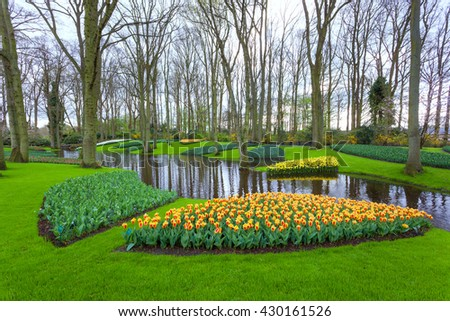Landscape with blooming beautiful flowers and water stream in famous Keukenhof park in Netherlands. Spring garden. Nature background - stock photo