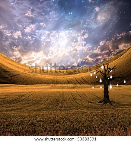 Landscape with bulb fruit tree - stock photo