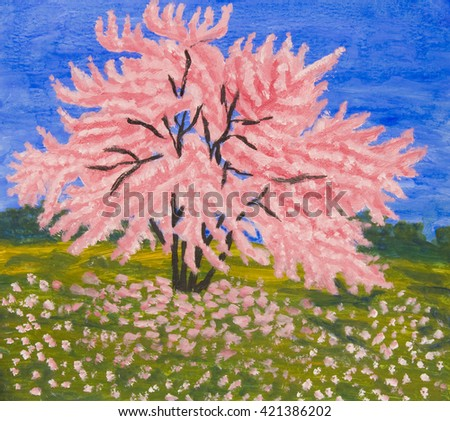 Landscape with Cercis tree in blossom, oil painting. - stock photo