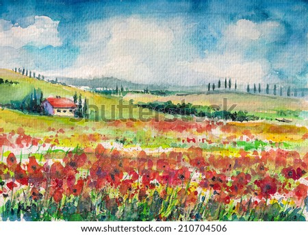 Landscape with colorful flowered field in Tuscany, Italy.Picture created with watercolors on paper. - stock photo