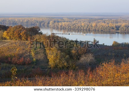 Landscape with Danube river.