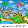 Landscape with dinosaurs 2 - color illustration. - stock vector