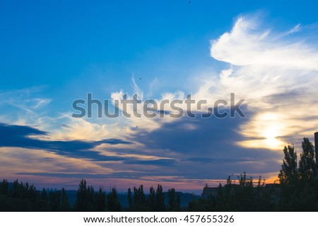 landscape with dramatic light - orange clouds and the outline of trees at sunrise