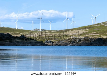 Landscape with eolic generators - stock photo