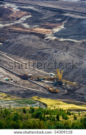 Landscape with extractive industry in Czech republic