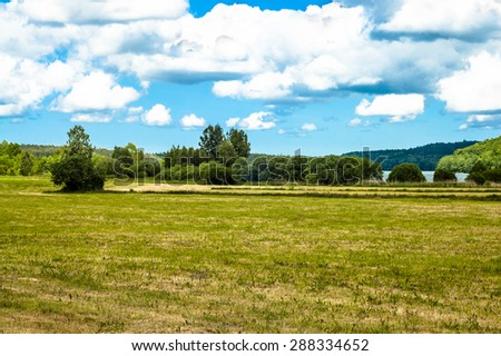 Landscape with fields and meadows at summer. Idyllic rural landscape and agricultural. Blue sky with clouds and sunny day. - stock photo