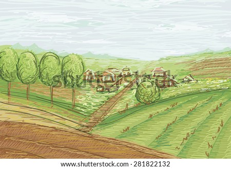 landscape with fields and village  - stock photo