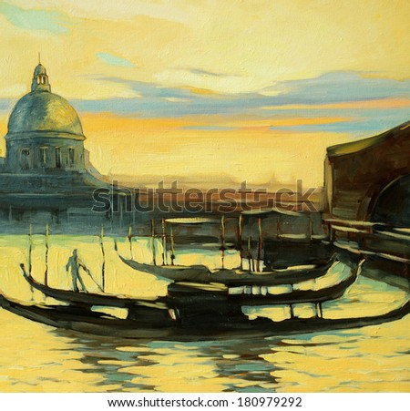 landscape with gondolas to Venice, painting, illustration - stock photo