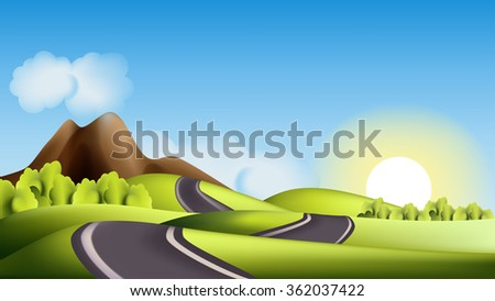 Landscape with hills, road and sun - stock photo