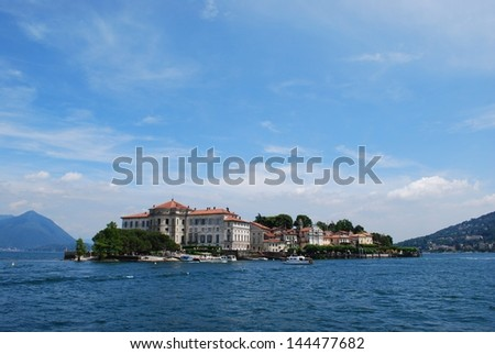 Landscape with Isola Bella, Island on Maggiore lake, Stresa, Italy - stock photo
